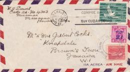 Cuba 1961 Cover From Havana To Jamaica - Cartas