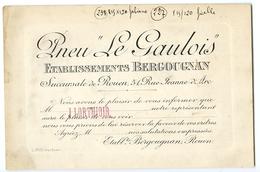 CARTE DE VISITE PNEU LE GAULOIS - ETABLISSEMENTS BERGOUGNAN, ROUEN - Visiting Cards