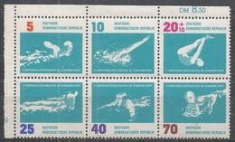 German Democratic Republic 1962. Scott #625a (MNH) 10th European Swimming Championships, Leipzig * - [6] République Démocratique