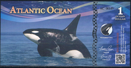 ATLANTIC Ocean  1  Aves Dollars 2016  Mammiferes Killer Whales Orques  UNC - Fictifs & Spécimens