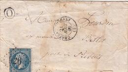 LETTRE.  21 AOUT 66.   AISNE  CHATEAU-THIERRY.   BOITE RURALE  =    O   /  57 - Poststempel (Briefe)