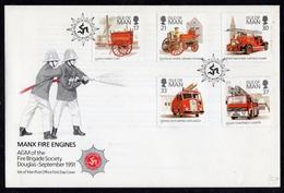 GB IOM ISLE OF MAN - 1991 MANX FIRE ENGINES FDC FINE - Firemen