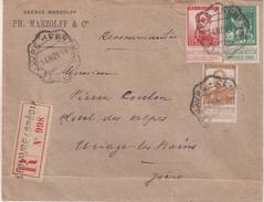 BELGIQUE : AFFRT A 50 Cts . CAD ONDULE . LE HAVRE CENTRAL . REC .1914 . - 1915-1920 Albert I