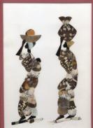 TABLEAU  - CADRE  -  Sous Verre Réalisé Avec Des Ailes De Papillons   -   2 Personnages - Assez Rare - Afrikanische Kunst