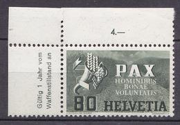 N° 412 Série De La Paix:  Légende PAX 80c Vert Foncé  Papier Avec Filament De Soie: Timbre Neuf Sans Charnière - Schweiz