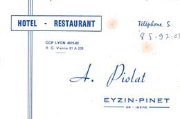 Carte Commerciale  Hôtel Restaurant A. PIOLAT / Eyzin Pinet 38 Isère - Cartes