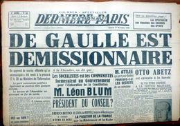 DE GAULLE EST DEMISSIONNAIRE  MANCHETTE DU JOURNAL LE NATIONAL 17 NOVEMBRE 1945 - Riviste & Giornali