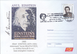 55557- ALBERT EINSTEIN, SCIENTIST, FAMOUS PEOPLE, COVER STATIONERY, 2005, ROMANIA