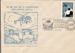 55576- BACAU COUNTY FLOODS, HELICOPTER, TRUCKS, RED CROSS, SPECIAL COVER, 1991, ROMANIA