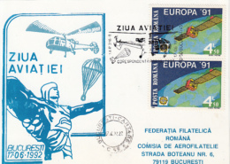 55577- AVIATION DAY, HELICOPTER, PARACHUTTING, SPECIAL POSTCARD, 1992, ROMANIA