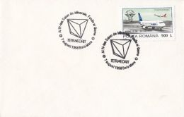 55608- TETRAHEDRITE, MINERALS, SPECIAL POSTMARK ON COVER, PLANE STAMPS, 1998, ROMANIA - Minerales