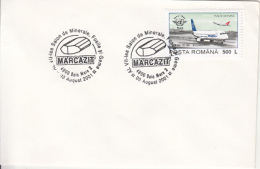 55609- MARCASITE, MINERALS, SPECIAL POSTMARK ON COVER, PLANE STAMPS, 2001, ROMANIA - Minerales