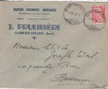 Enveloppe J. PRULHIERE / Draperie Confection / Clairvaux Les Lacs 39 Jura / Cachet Clairvaux 1925 - France