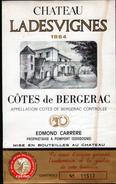 ETIQUETTE CHATEAU LADESVIGNES 1964, COTES DE BERGERAC - Bergerac