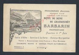 CDV CARTE DE VISITE ILLUSTRÉE HOTEL DU DOME DE CHASSE FÔRET BARBARIN  À PRALOGNAN ( SAVOIE) : - Cartoncini Da Visita