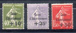 (FL) FRANCE - YT N° 275 à 277 - Neufs ** - MNH - Cote: 675,00 € - Caisse D'Amortissement