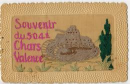 """RARE FANTAISIE BRODEE MILITARIA GUERRE  : """" Souvenir 504 ème Chars VALENCE """" - Char D´Assaut Tank Artillerie - Régiments"""