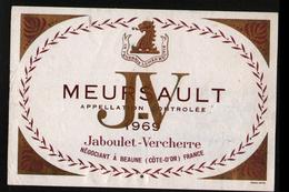 ETIQUETTE MEURSAULT 1969 JABOULET-VERCHERRE - Bourgogne