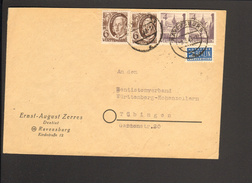 Franz.Zone Württ. 2 X 4 U.2 X 6 Pfg.Persönlichkeiten Mit Notopfer Auf Fernbrief A.Ravensburg V.9.3.49 - Französische Zone
