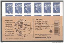 CARNET N°592 C2 / MARIANNE DE BEAUJARD BLEU EUROPE COUVERTURE MODELE  N°2 - Carnets