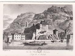 G , Cp , 07 , TOURNON , Reproduction D'Éstampe Ancienne , Vue Du Château De Tournon - Tournon