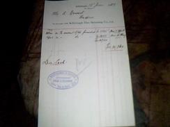 Facture Franco Anglaise Heuchamp Et Gibsn  Paris/killyleagh Annee 1928 - Royaume-Uni