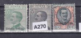 """Italia-Eritrea 1925: Serie Completa MLH(*)  """"Francobolli D'Italia Sopr. Colonia Eritrea"""". - Eritrea"""