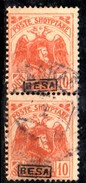 XP2191 - ALBANIA 1922 , Michel N. 78 III  Usato : Coppia Verticale BESA - Albania