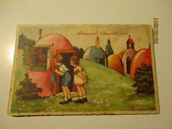 EASTER CHILDREN IN EASTER EGG TOWN , ESTONIA 1928  , OLD POSTCARD , 0 - Easter