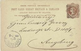 Großbritannien / United Kingdom - Ganzsache Postkarte Echt Gelaufen / Postcard Used (L744) - 1840-1901 (Victoria)