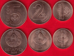 Belarus Set Of 3 Coins: 1 - 5 Kopeks 2009 (2016) UNC - Belarús