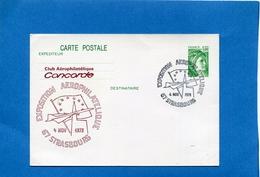 """Marcophilie--JET -"""" CONCORDE"""" -carte Entier Postal Repiqué-illustré """"CLUB CONCORDE"""" Cad 4 Nov 1979"""