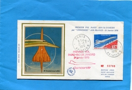 """Marcophilie--JET -"""" CONCORDE"""" - FRANCE- 1er Vol PARIS RIO Sur Enveloppe Illustré  -voyagé Cachet Arrivée Au Dos 21 1 976"""