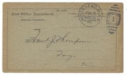 Post Office Official Business Card 1902 Moorhead MN Duplex Fargo ND Barr Fyke - Postal History