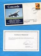 """Marcophilie--JET -"""" CONCORDE"""" -SINGAPORE-LONDON -1er Vol Enveloppe Avec Certificat D'authenticité Joint -cad 1 Dec 1977"""