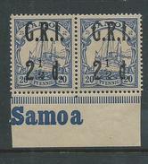 Samoa 1914 GRI Overprint  2 & 1/2d On 20 Pf Marginal Pair MNH - Samoa