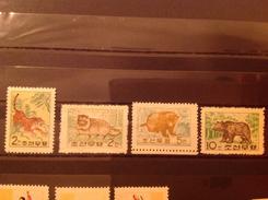 North Korea 1962 Animals Mint SG N369-72 Sc 381-4 - Corea Del Norte
