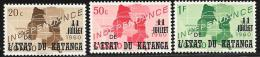 Katanga, Scott # 40-2 MNH Congo Map Stamps Overprinted, 1960 - Katanga