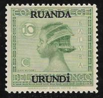 Ruanda-Urundi. Scott # 26 Mint Hinged Belgian Congo Stamp Overprinted, 1929 - 1924-44: Mint/hinged