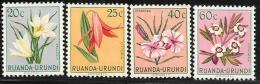 Ruanda-Urundi. Scott # 116-8.120 Mint Hinged Flowers, 1953 - Ruanda-Urundi