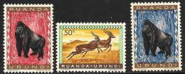Ruanda-Urundi. Scott # 137, 140-1 MNH Animals, 1959 - Ruanda-Urundi