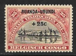 Ruanda-Urundi. Scott # B2 Used Belgian Congo Stamp Surcharged,, 1925 - Ruanda-Urundi