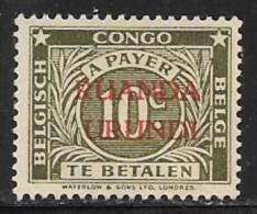 Ruanda-Urundi. Scott # J8 Unused No Gum Postage Due, 1943 - Ruanda-Urundi
