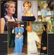 Set Princess Diana 1997 Niger/Africa 5 Blocks D,F,H 110+A,F 111 ** 40€ Hojas Blocs Lady Di Wales Ms Sheets Bf UK Ss - Enfance & Jeunesse