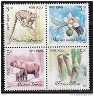 India MNH 2005, Se-tenent Block, Noth East Flora & Fauna. Leopard, Cat, Animal, Mishmi Takin, Flower, Tree, Plant, F