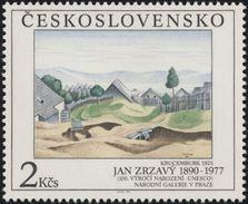 "Czechoslovakia / Stamps (1990) 2961: Jan Zrzavy (1890-1977) ""Krucemburk"" (1923), UNESCO; National Gallery Prague"