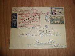 Lettre  Première Liaison Par Hélicoptère Sabena  Paris Le 03/03/1957 Pour Bruxelles Le 03/03/1957 Les N°1037 Et 1088 TB