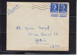 """Bandes Publicitaires Mne De MULLER 20f Bleu """"  LA PAIRE  Television GRAMMONT """" Sur Lettre De PARIS Le 27 1 1958 - Advertising"""