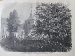 Gravure 1871 LA TOUR D ALEXANDRE DUMAS   Dans Le Cimetiere De NEUVILLE   Pres De DIEPPE - Vieux Papiers