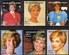 Lächeln Mode Schmuck Blumen Princess Diana 1998 DuNiger Aus 6 Blocks ** 36€ Blocs Lady Di Wales Ms Stamps Bf AFRICA - Mother's Day